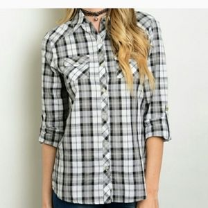 Black and white flannel style shirt